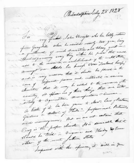 James Ronaldson to James Madison, July 28, 1828. With Sample of New Zealand Hemp.