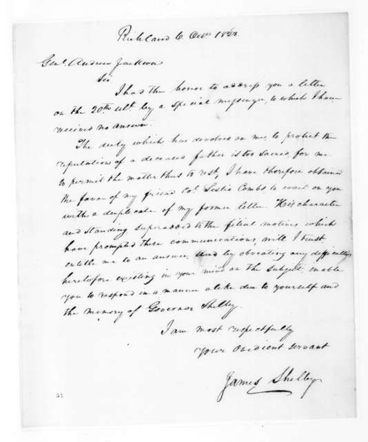 James Shelby to Andrew Jackson, October 6, 1828