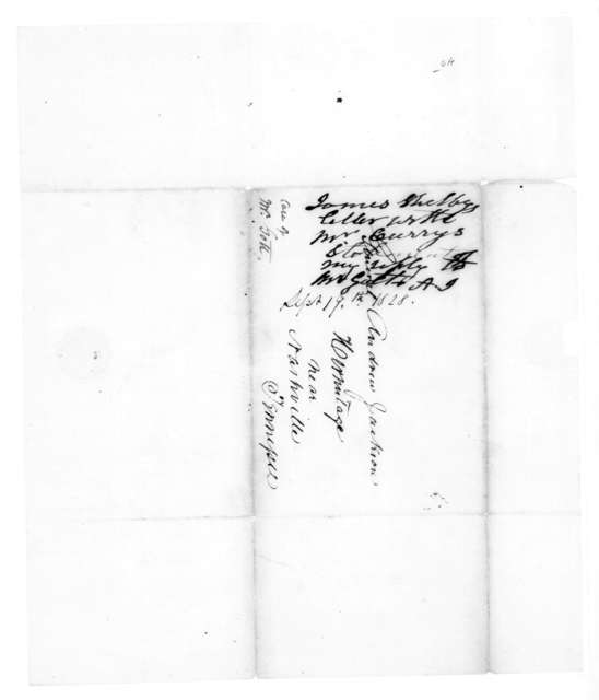 James Shelby to Andrew Jackson, September 19, 1828