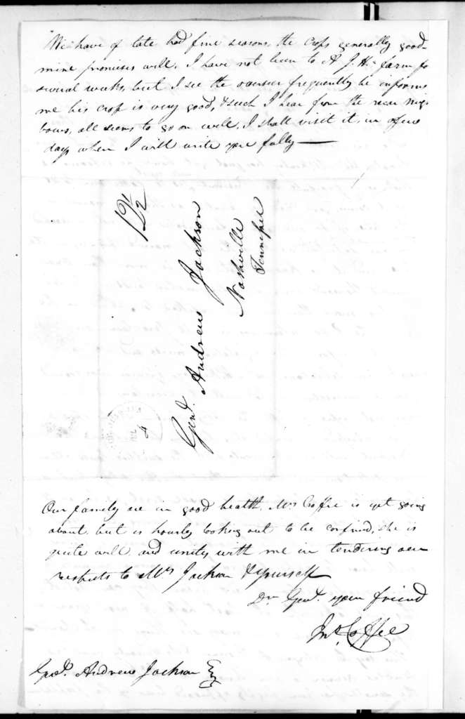 John Coffee to Andrew Jackson, July 2, 1828