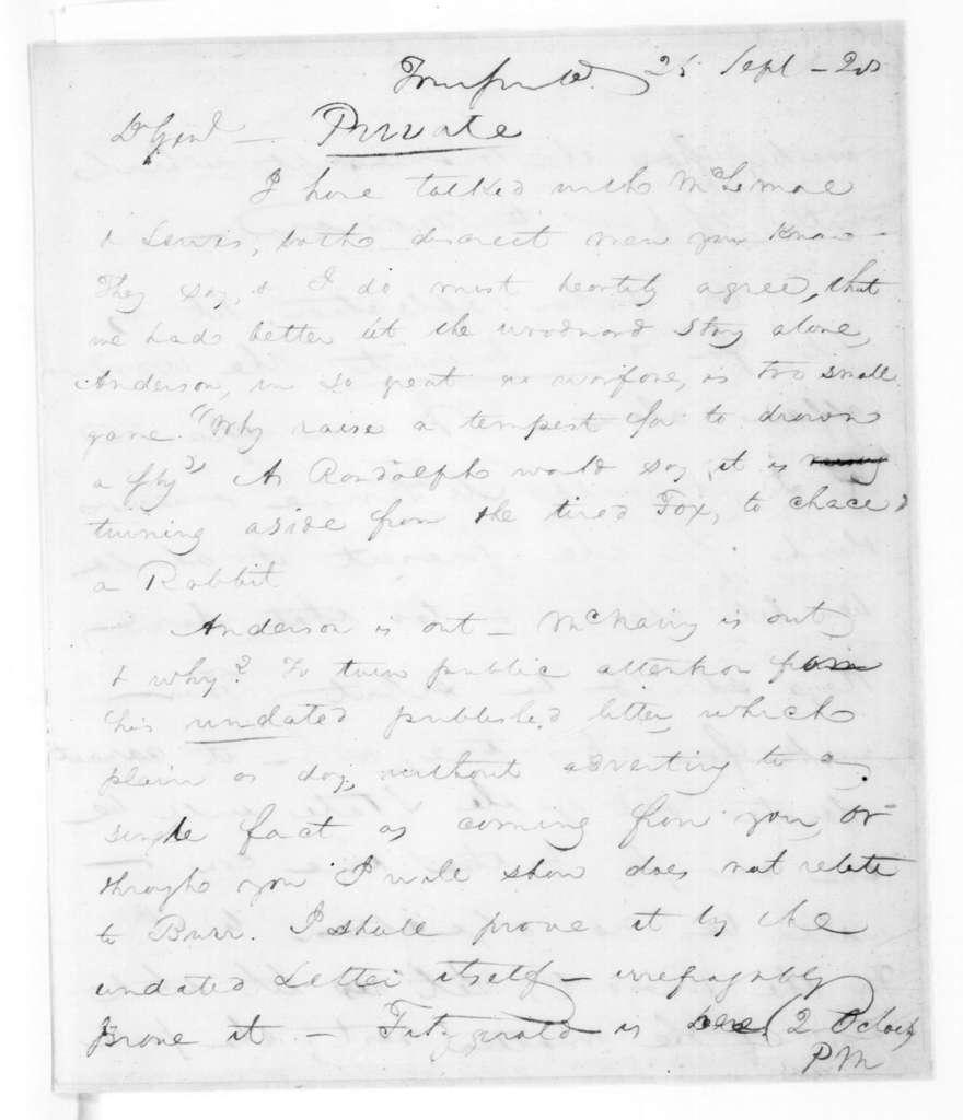 John Henry Eaton to Andrew Jackson, September 25, 1828