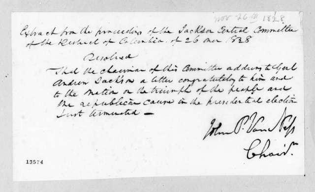 John Peter Van Ness, November 26, 1828