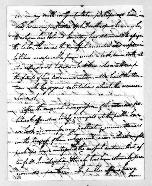 John Peter Van Ness to Andrew Jackson, November 29, 1828