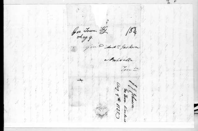 John Telemachus Johnson to Andrew Jackson, August 8, 1828