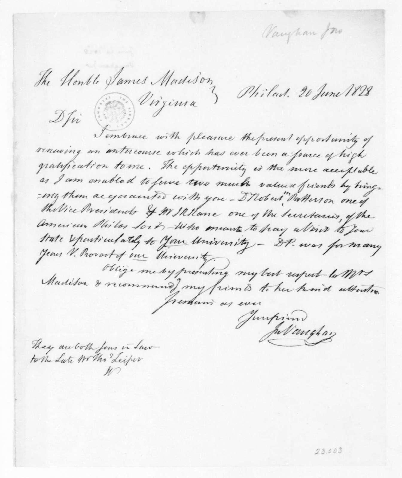 John Vaughan to James Madison, June 20, 1828.