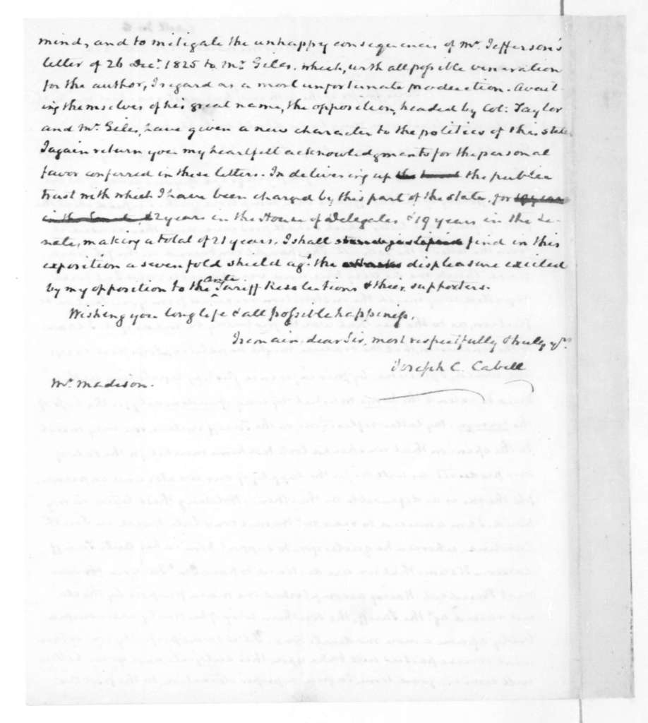 Joseph C. Cabell to James Madison, November 20, 1828.