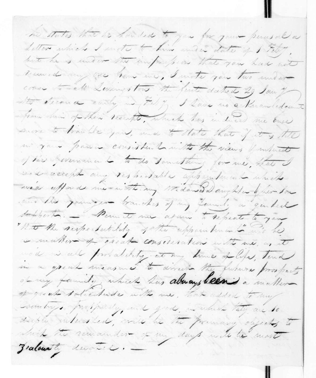 Joseph Saul to Andrew Jackson, March 31, 1828