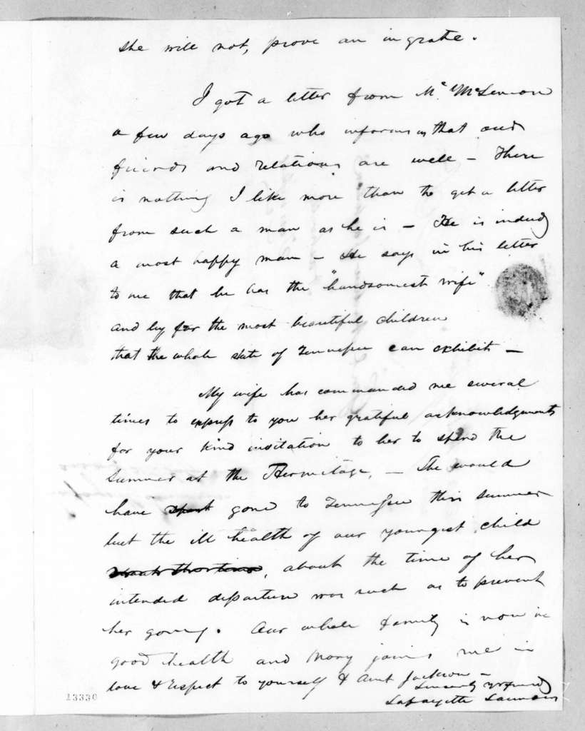 Lafayette Saunders to Andrew Jackson, July 18, 1828