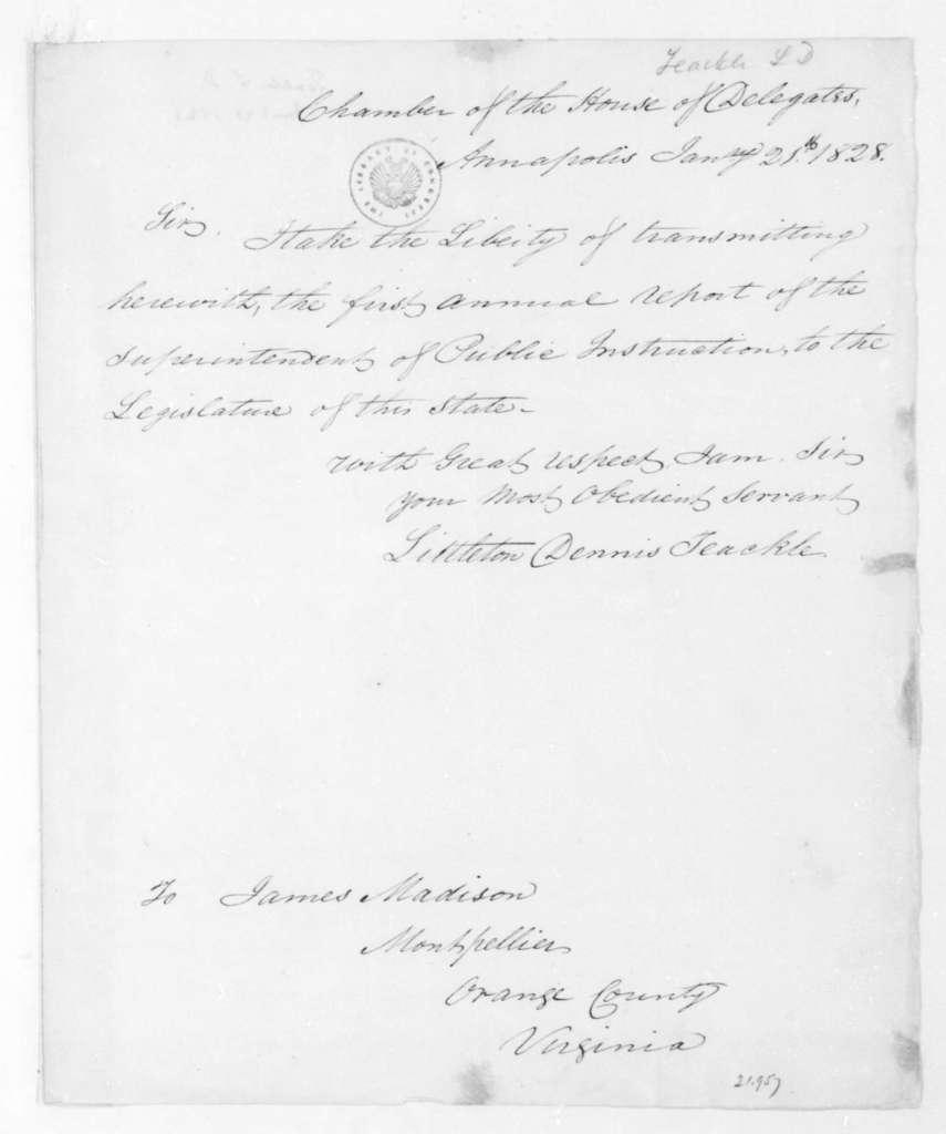 Littleton Dennis Teackle to James Madison, January 21, 1828.