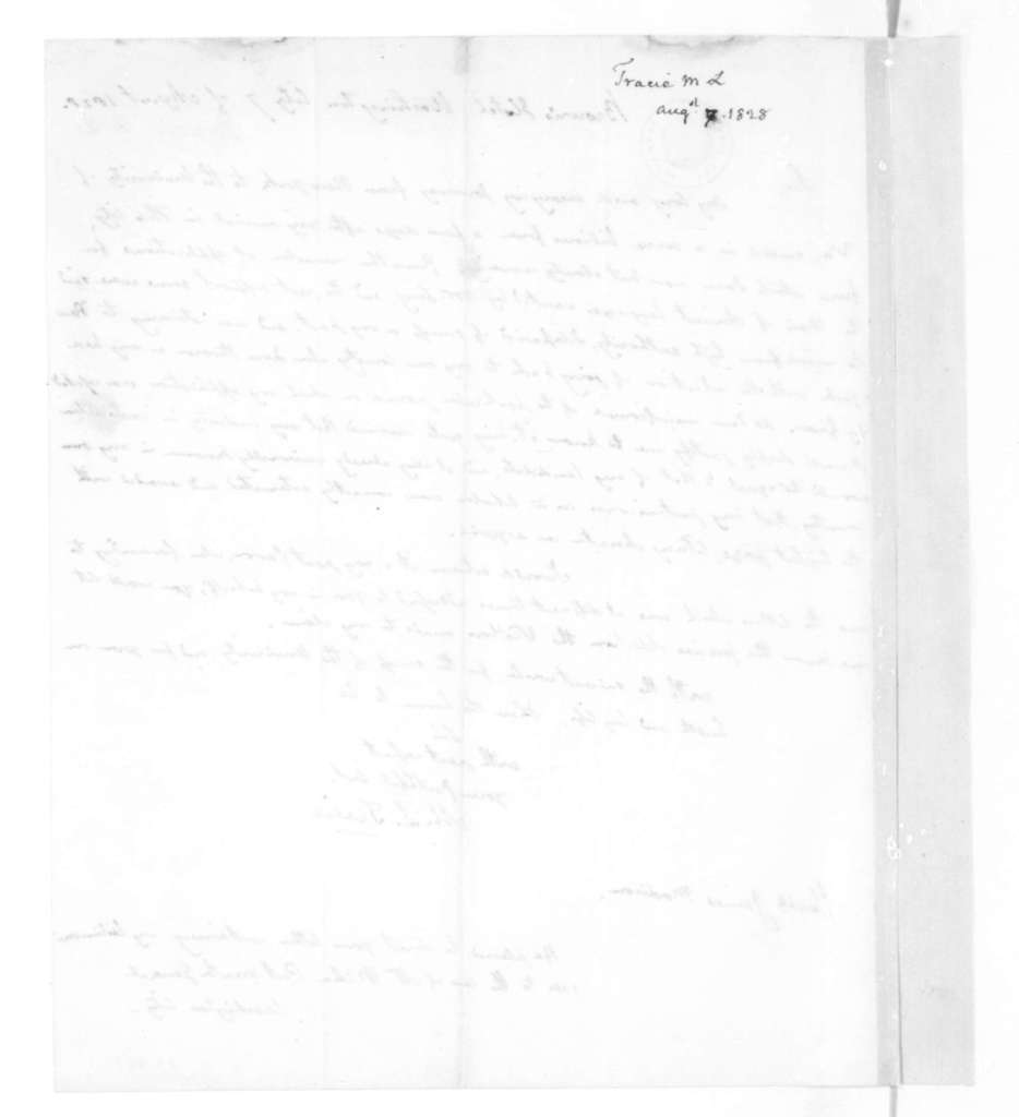 M. L. Tracie to James Madison, August 7, 1828.