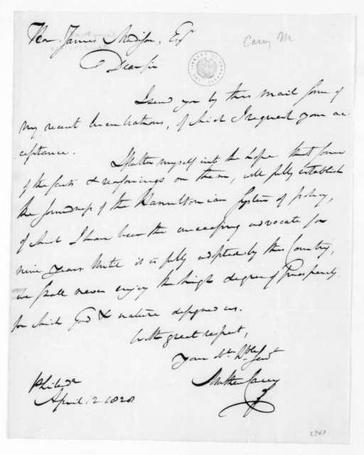 Mathew Carey to James Madison, April 12, 1828.