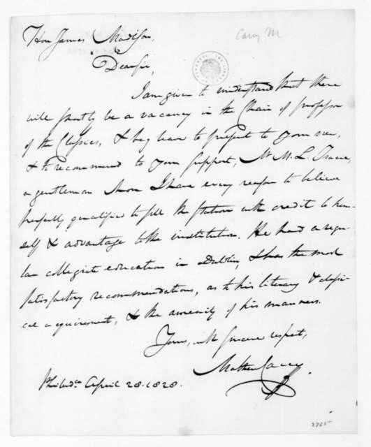 Mathew Carey to James Madison, April 28, 1828.