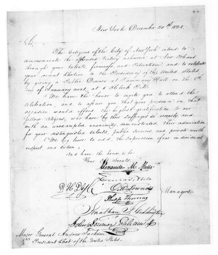 New York City Citizens to Andrew Jackson, December 20, 1828