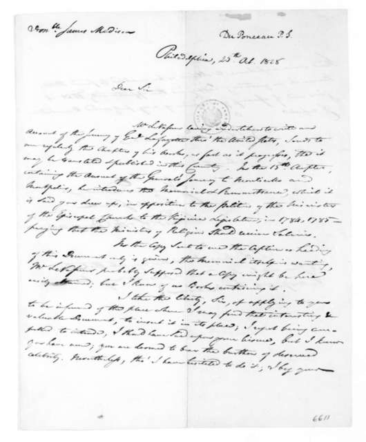 Peter S. Duponceau to James Madison, October 25, 1828.