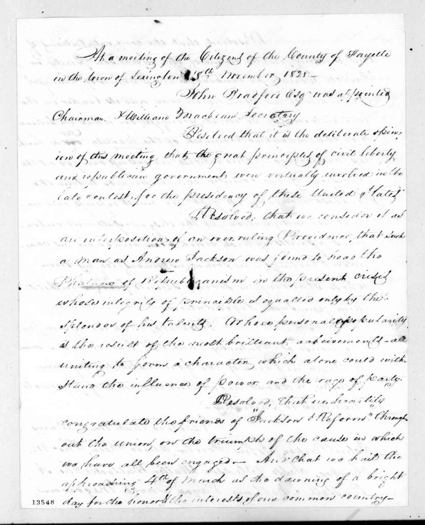 Resolution of citizens of Fayette Co., Kentucky. November 18, 1828
