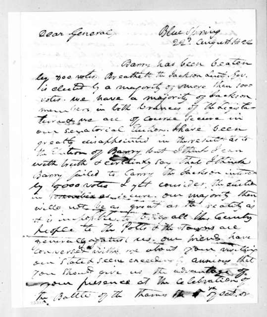 Richard Mentor Johnson to Andrew Jackson, August 22, 1828