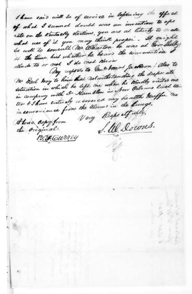 S. W. Downs to Andrew Jackson Donelson, September 6, 1828
