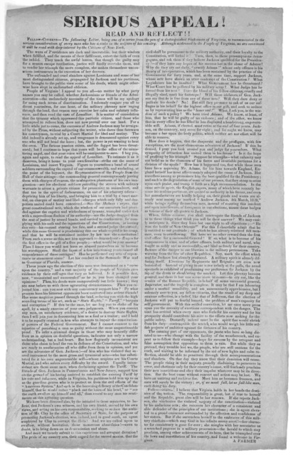 Serious appeal! Read and reflect!!. Fellow-citizens- The following letter, being one of a series from the pen of a distinguished statesman of Virginia, is recommended to the serious consideration of every man who has a stake in the welfare of hi
