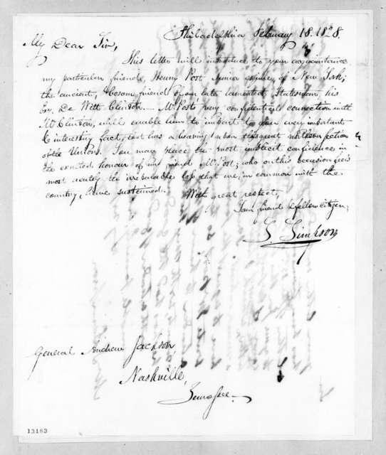 Stephen Simpson to Andrew Jackson, February 18, 1828