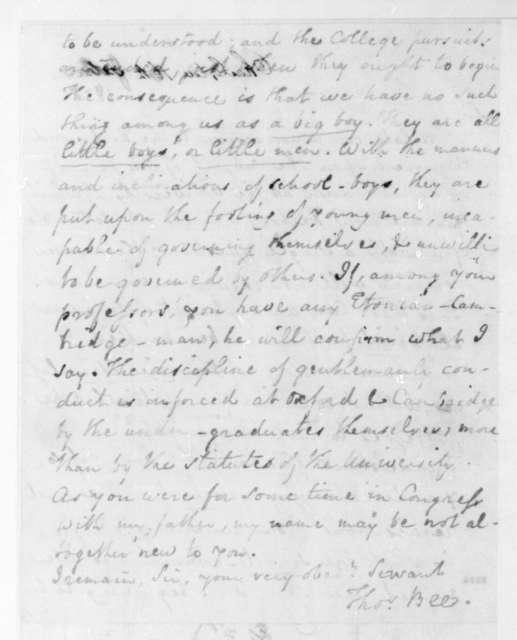 Thomas Bee to James Madison, June 16, 1828.