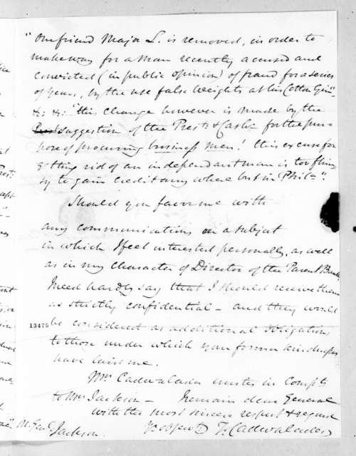 Thomas Cadwalader to Andrew Jackson, October 15, 1828