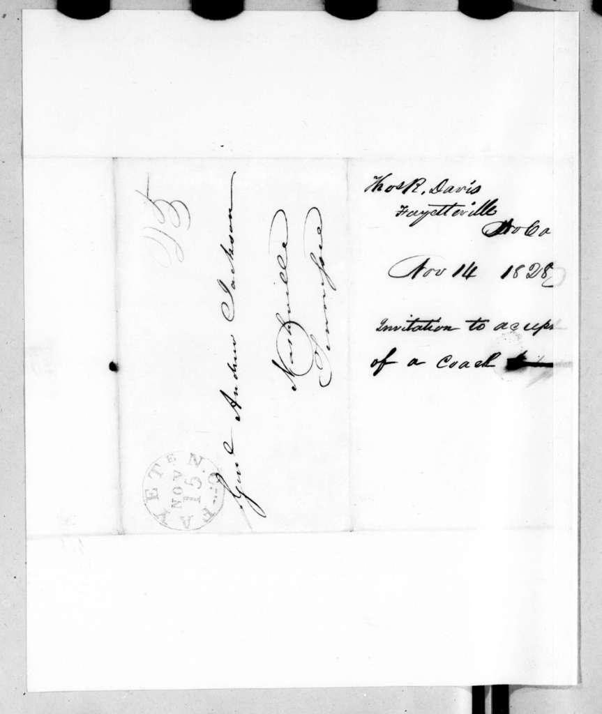 Thomas D. Davis to Andrew Jackson, November 14, 1828