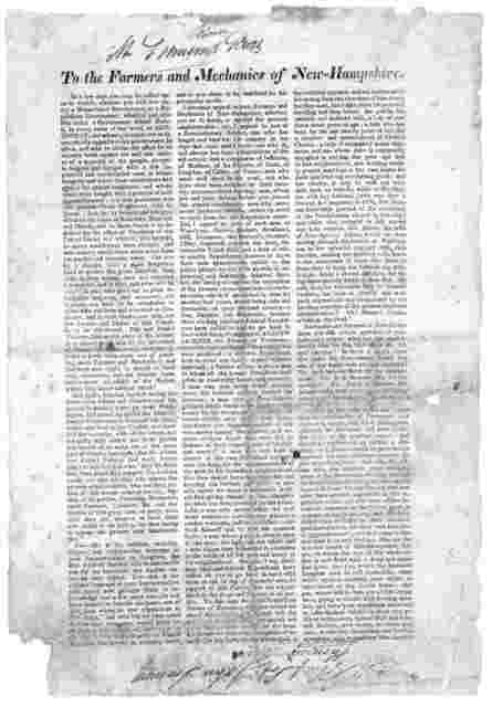 To the farmers and mechanics of New-Hampshire. In a few days you may be called upon to decide, whether you will live under a monarchial government, or republican government ... [1828].