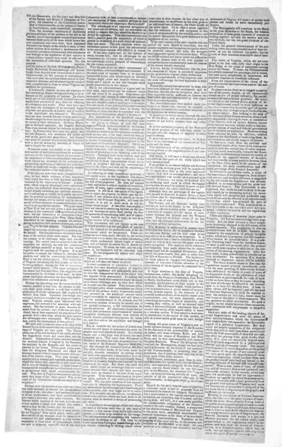 To the Honourable the speakers and members of the Senate and House of Delegates of Virginia, the memorial of the convention assembled at Charlottesville, on the subject of internal improvement, most respectfully represents ... [1828].