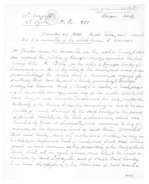 United States Congress to, December 21, 1828. Copy of the bill presented for the relief of Ebenezer Cooley.