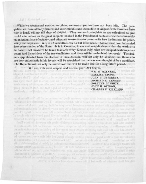 Utica. October, 16, 1828. Sir, The Central corresponding committee, appointed by the friends of the administration in convention on the 23d July last, having received communications from gentlement in all parts of the State, in answer to letters