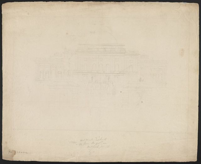 West front - a duplicated copy from the col[ore]d one Bullfinch's [i.e. Bulfinch's] favorite.