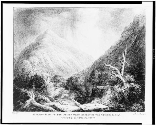 White Mountains.  Distant view of the slides that destroyed the Whilley family / Cole delt. ; Imbert's lithography.