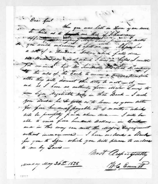 William C. Emmit to Andrew Jackson, May 26, 1828