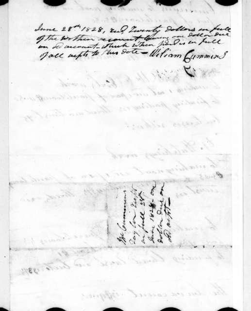 William Cummins to Andrew Jackson, April 23, 1828