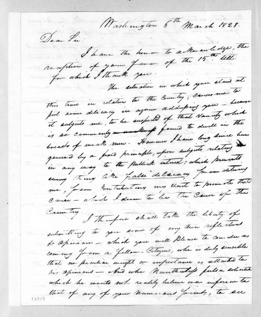 Wilson Lumpkin to Andrew Jackson, March 6, 1828