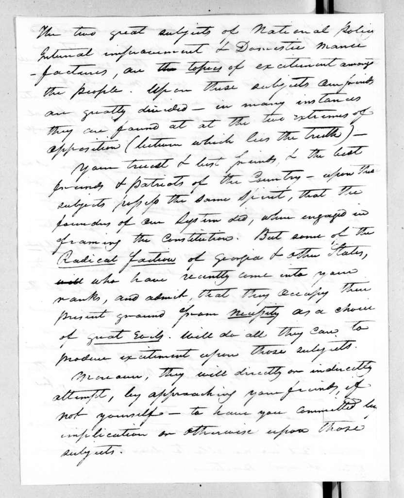 Wilson Lumpkin to Andrew Jackson, March 6, 1828