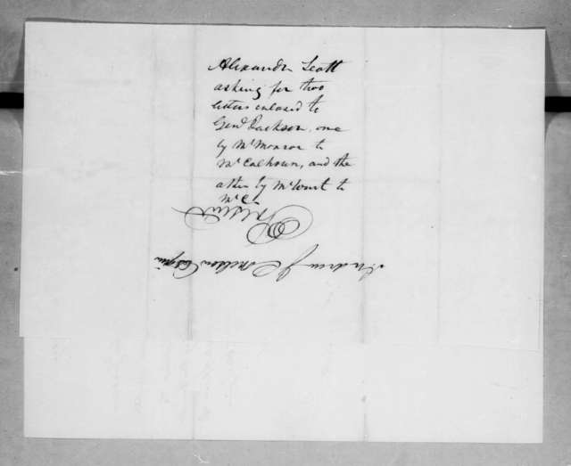 Alexander Scott to Andrew Jackson Donelson, March 1, 1829