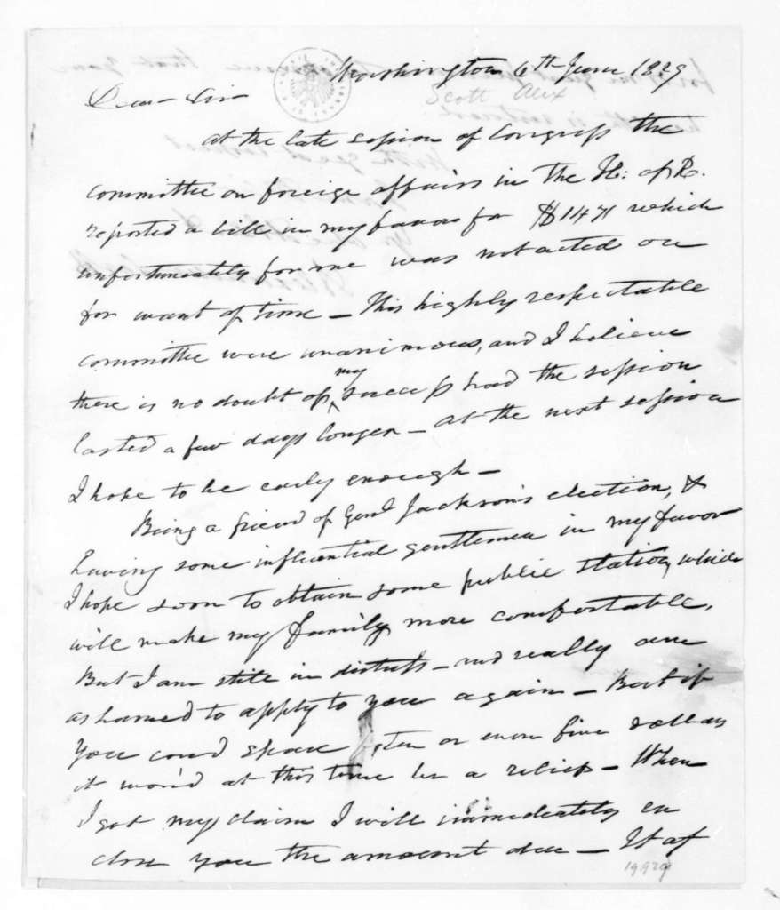 Alexander Scott to James Madison, June 6, 1829.