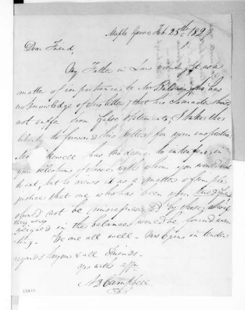 Allan Ditchfield Campbell to Andrew Jackson, February 25, 1829
