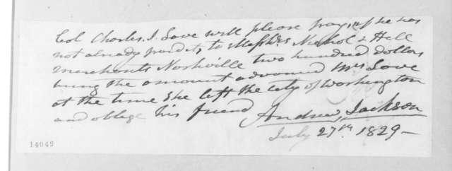 Andrew Jackson to Charles Jones Love, July 27, 1829