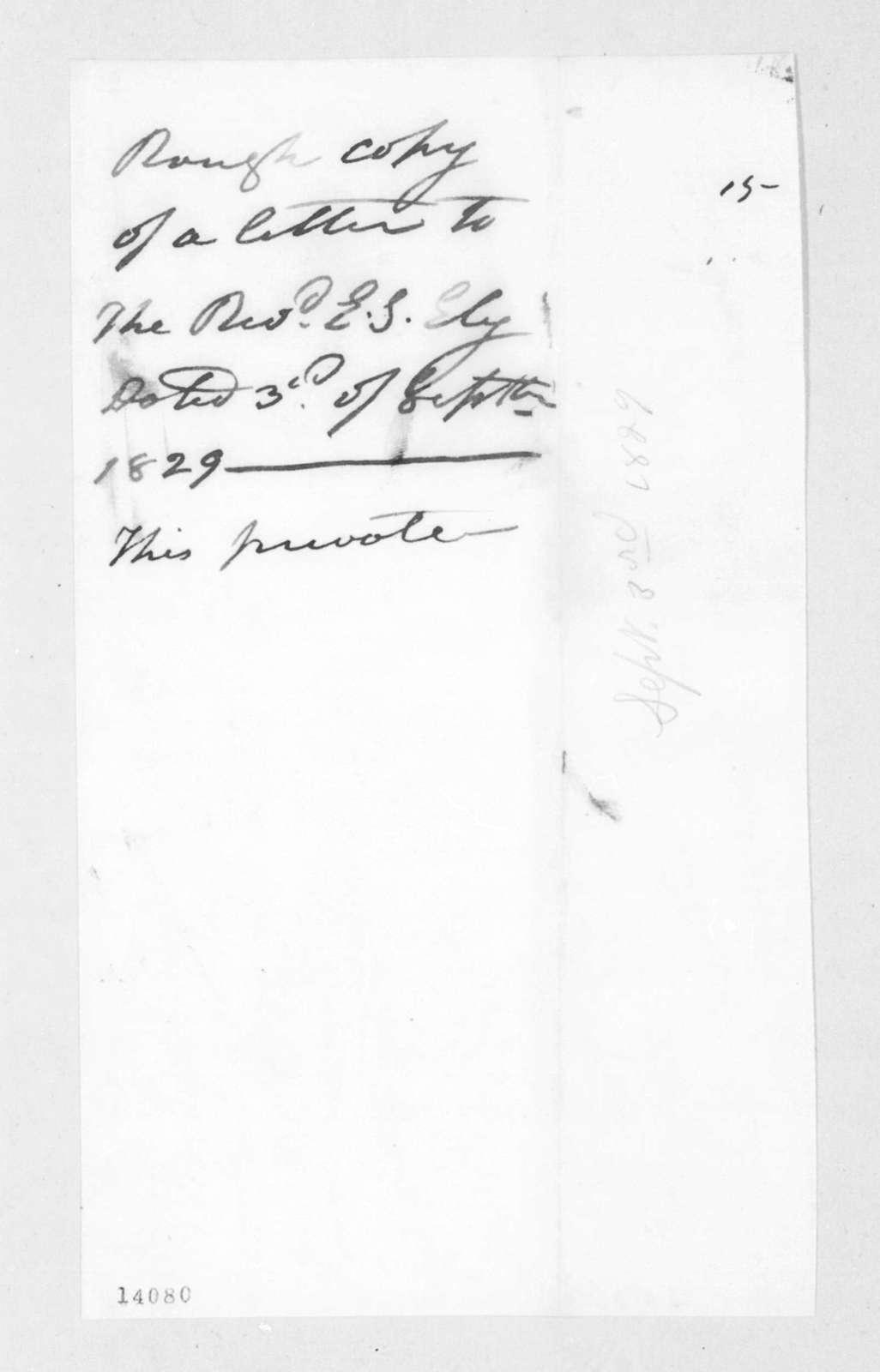 Andrew Jackson to Ezra Stiles Ely, September 3, 1829