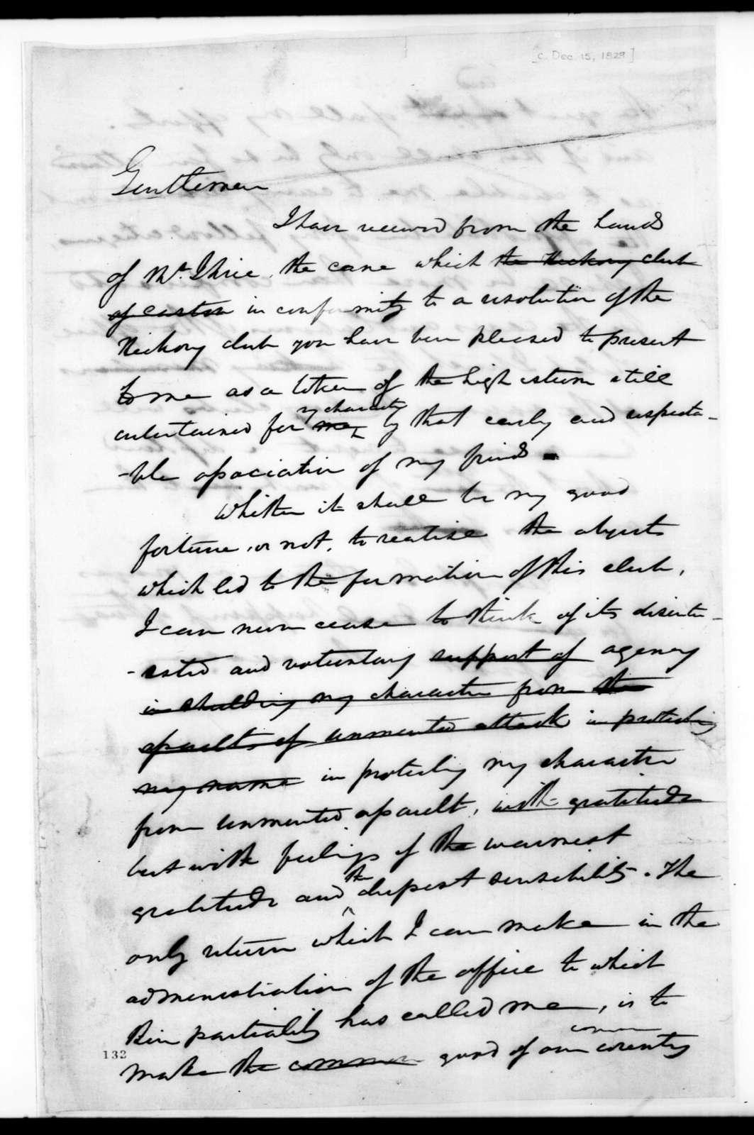 Andrew Jackson to Hickory Club, December 15, 1829