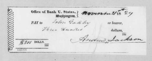 Andrew Jackson to John Gadsby, November 21, 1829