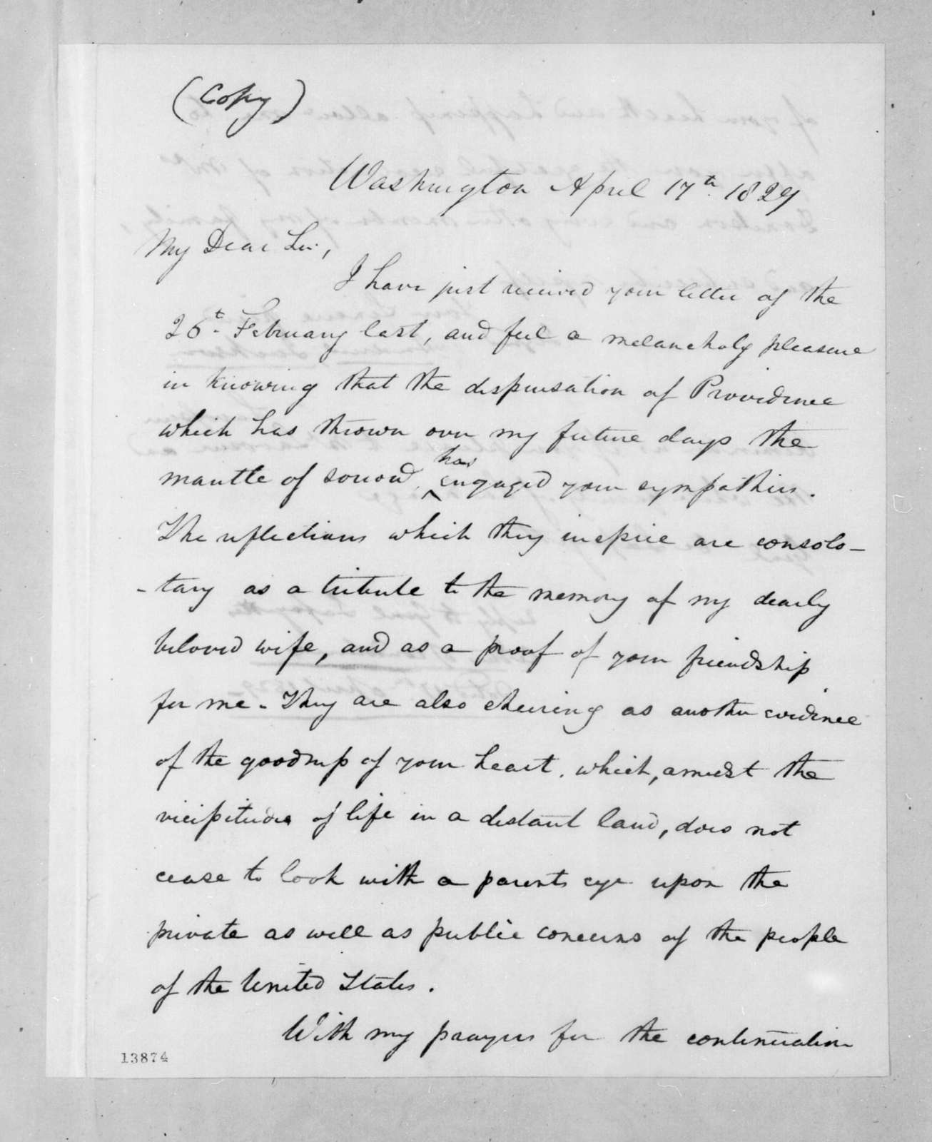 Andrew Jackson to Marie Joseph Paul Yves Roch Gilbert Du Motier, marquis de Lafayette, April 17, 1829