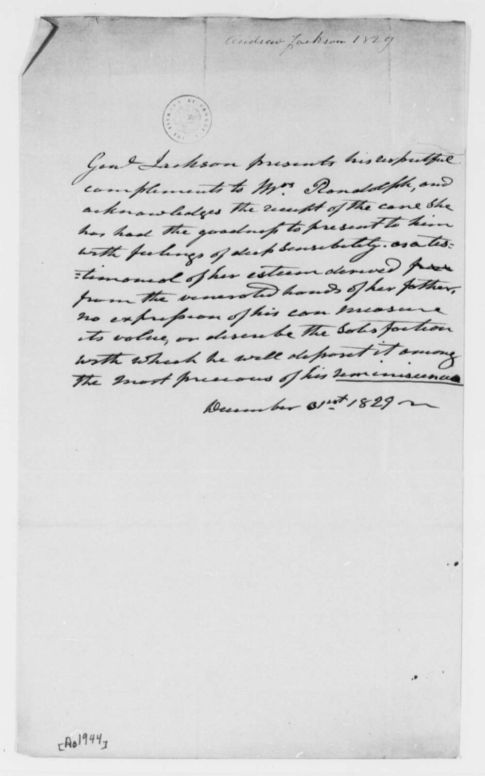 Andrew Jackson to Martha Randolph, December 31, 1829