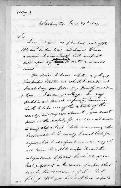 Andrew Jackson to Stephen Simpson, June 27, 1829