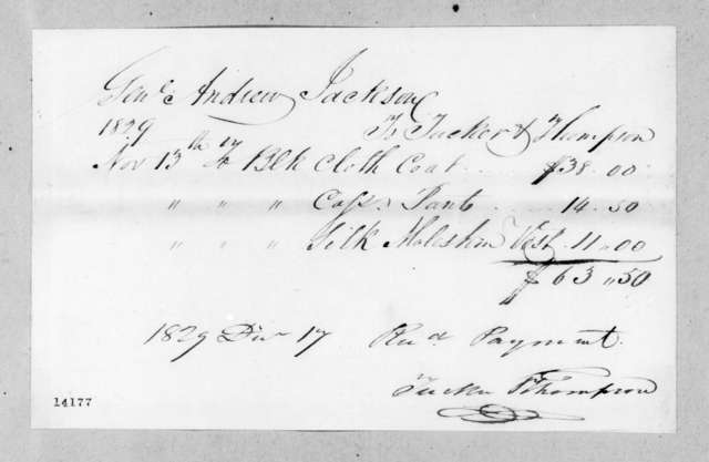 Andrew Jackson to Tucker & Thompson, December 17, 1829