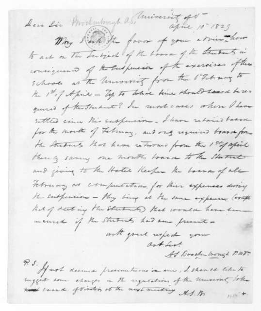 Arthur Spicer Brockenbrough to James Madison, April 10, 1829.