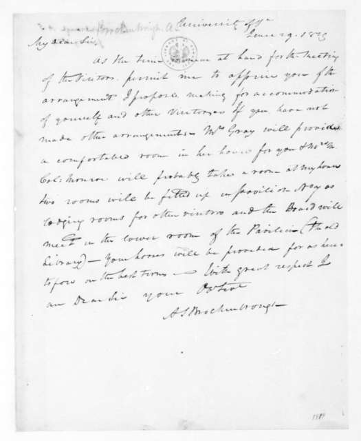 Arthur Spicer Brockenbrough to James Madison, June 29, 1829.