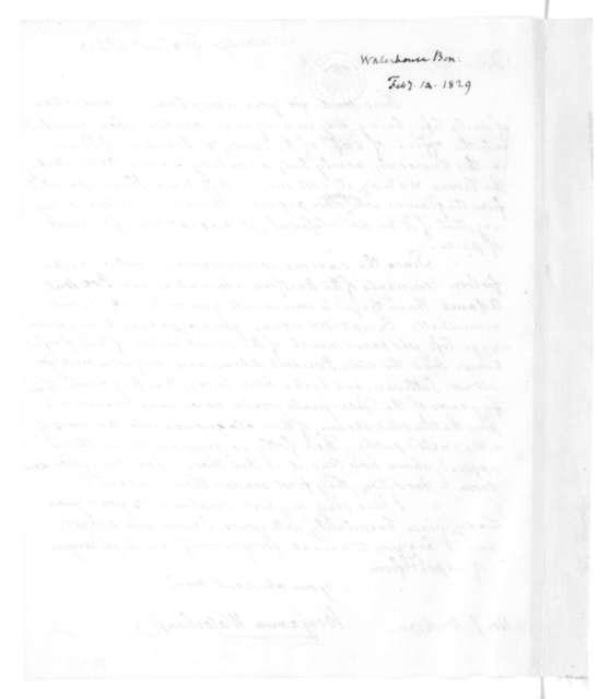 Benjamin Waterhouse to James Madison, February 14, 1829.